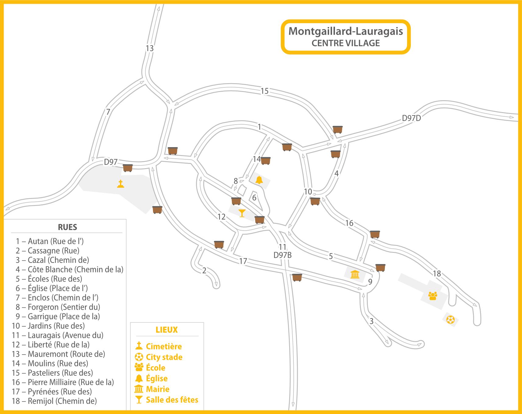 Plan de Montgaillard-Lauragais centre container ordures ménagères