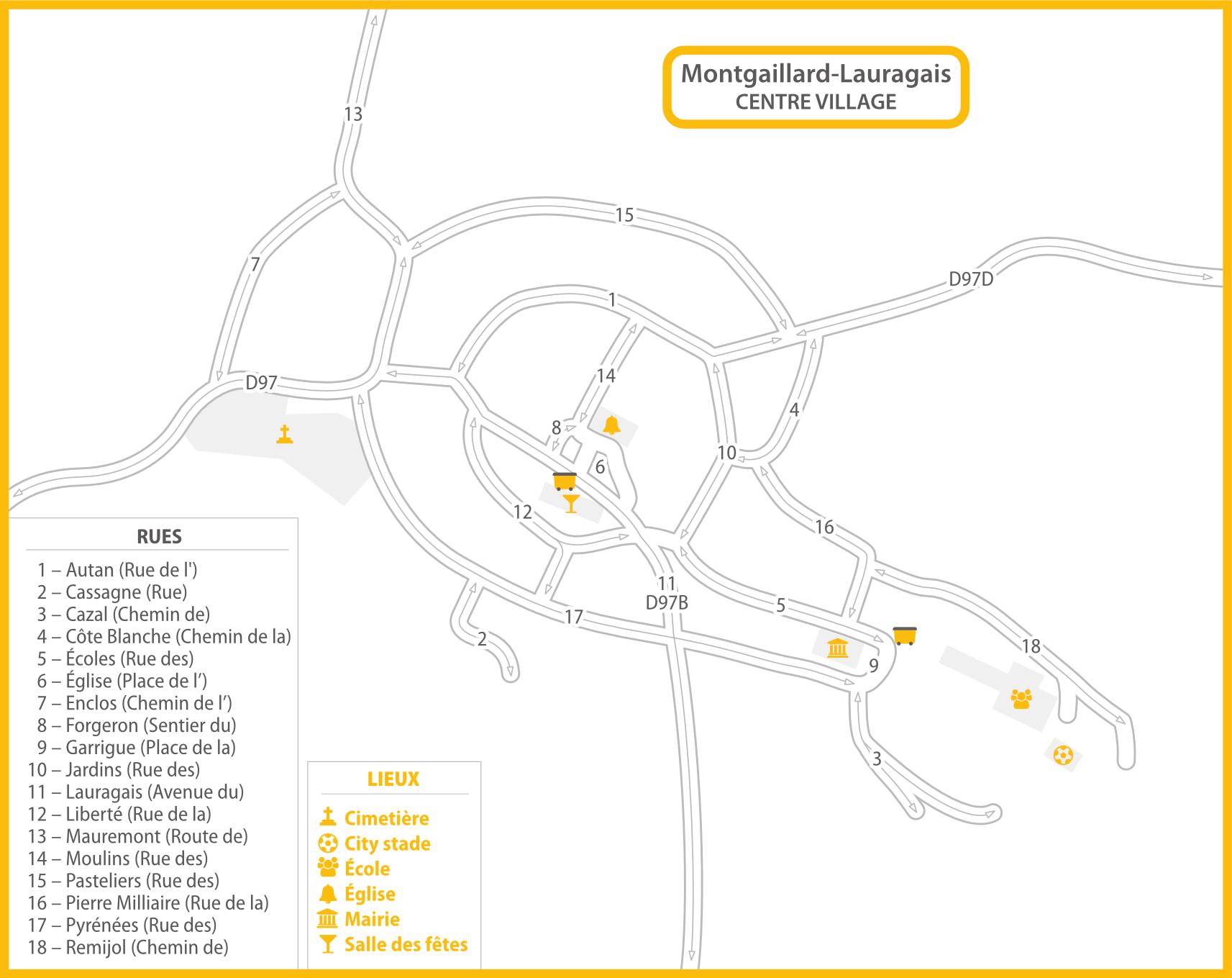 Plan Montgaillard-Lauragais centre container recyclage