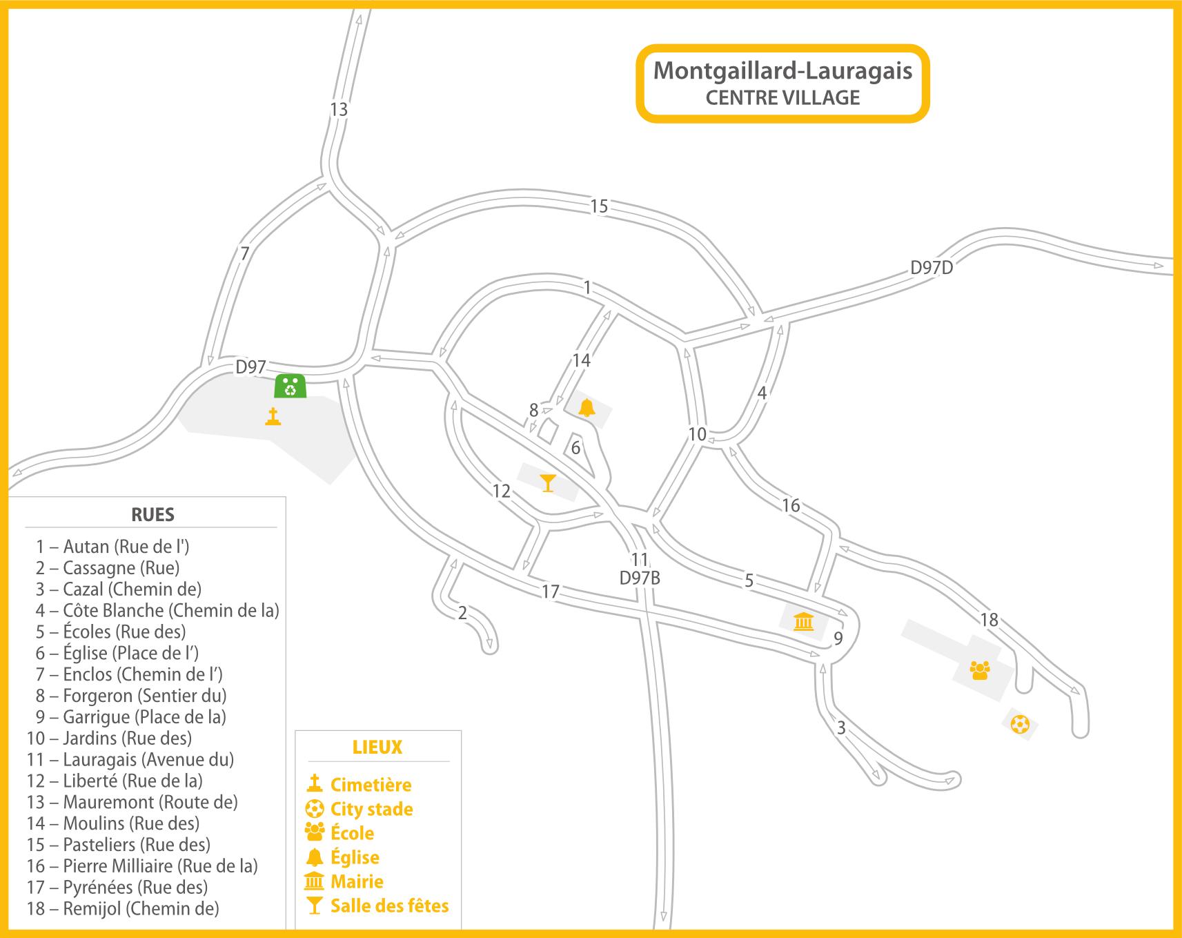 Plan Montgaillard-Lauragais centre récup'verre